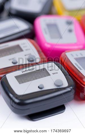 Close Macro View Of Digital Pedometers