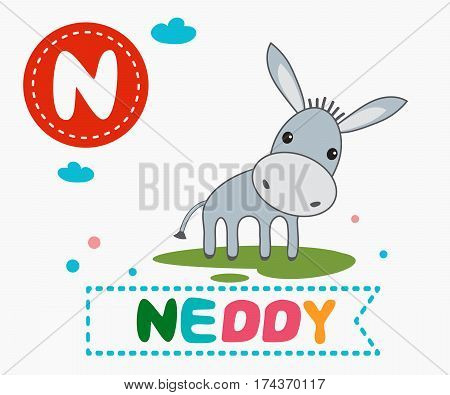 Hand drawn letter N and funny cute neddy. Children's alphabet in cartoon style vector illustration.
