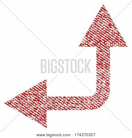 Bifurcation Arrow Left Up vector textured icon for overlay watermark stamps. Red fabric vectorized texture. Symbol with unclean design. Red ink rubber seal stamp with fiber textile structure.
