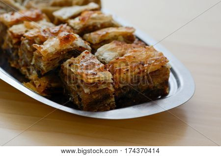 Traditional Serbian Cake Baklava Arranged On Metal Plate.