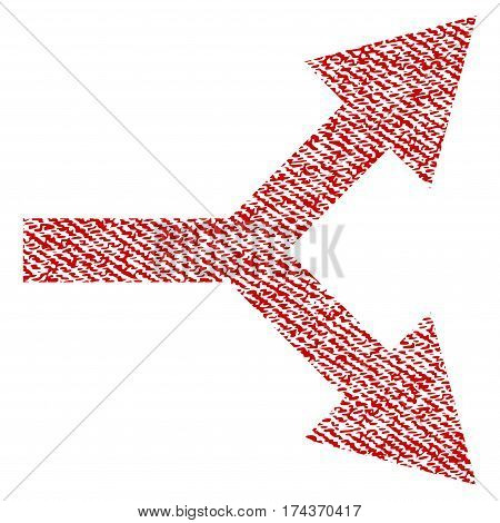 Bifurcation Arrow Right vector textured icon for overlay watermark stamps. Red fabric vectorized texture. Symbol with scratched design. Red ink rubber seal stamp with fiber textile structure.