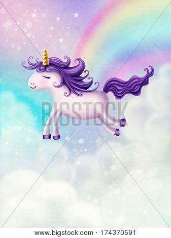 Illustration of a cute little unicorn