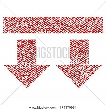 Bring Down vector textured icon for overlay watermark stamps. Red fabric vectorized texture. Symbol with dust design. Red ink rubber seal stamp with fiber textile structure.