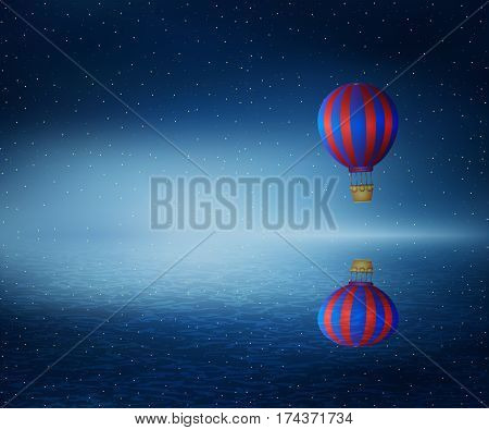 Vector illustration as a hot air balloon flying over the a cold dark blue ocean. Wonderful landscape with a starry night sky background reflect in water.