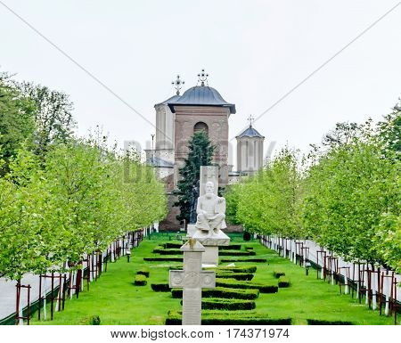 Bucharest, Romania - May 25, 2014: The Hill Of Patriarchy, Dealul Mitropoliei. The Statue Of Serban