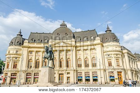 Bucharest, Romania - May 25, 2014: The Statue And The Fundation Building Of Carol The First.