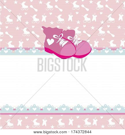 Pink baby shower card with baby girl shoes , vector illustration