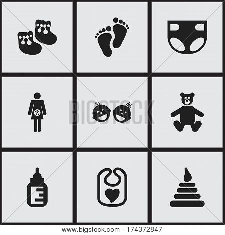Set Of 9 Editable Kid Icons. Includes Symbols Such As Shoes For Babies, Pinafore, Footmark And More. Can Be Used For Web, Mobile, UI And Infographic Design.