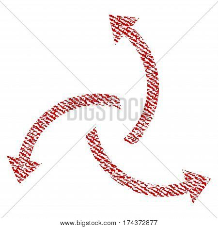 Centrifugal Arrows vector textured icon for overlay watermark stamps. Red fabric vectorized texture. Symbol with dust design. Red ink rubber seal stamp with fiber textile structure.