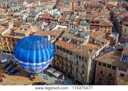 VIC/ SPAIN - MARCH 27, 2015. Hot air balloon launch on the main square of the historic Spanish city of Vic. Spain, province Barcelona