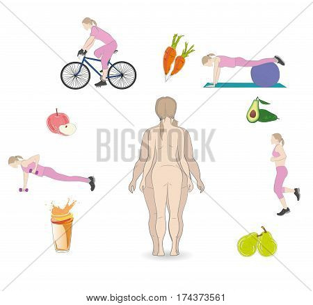 silhouette fat and slim woman, before and after weight loss. exercises and food lose weight. vector illustration.