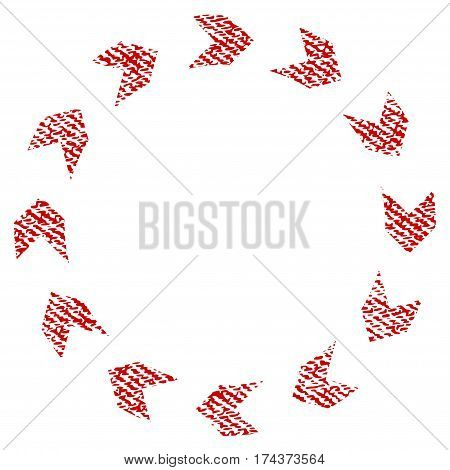 Circulation vector textured icon for overlay watermark stamps. Red fabric vectorized texture. Symbol with dirty design. Red ink rubber seal stamp with fiber textile structure.