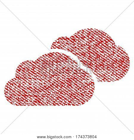Clouds vector textured icon for overlay watermark stamps. Red fabric vectorized texture. Symbol with dirty design. Red ink rubber seal stamp with fiber textile structure.
