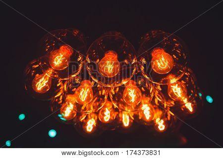 vintage lighting lamp bulb decoration in cafe