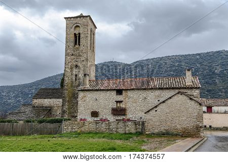Virgen del Rosario Church in the rural town of Triste Aragon Spain. Its Romanesque tower from the beginning of the XIII century