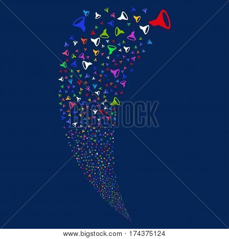 Filter random fireworks stream. Vector illustration style is flat bright multicolored iconic symbols on a blue background. Object fountain made from scattered icons.