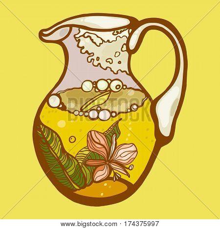 Tea time. Herbal Tea. Jug Tea. Vector illustration.