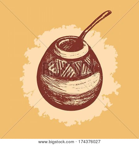Yerba Mate. Traditional drink of South America. Kalabas and Bombilla. Hand drawn.
