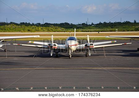 KEY WEST, FL, USA - DEC. 20, 2012: Turboprop airplane at Key West International Airport, Key West, Florida, USA.