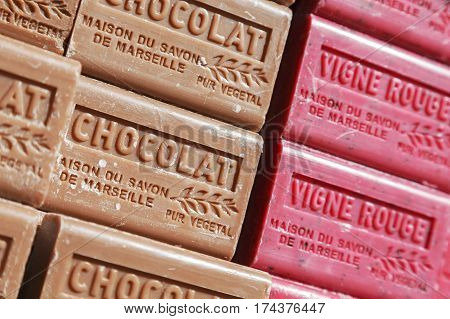 Nice France - May 16 2014: Two fragrances of soap bars with different colors. Those traditional soaps made of vegetable oils was put on sale at the local market