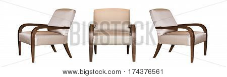 Textile modern grey chair isolated on white background. View from different sides - front and two side views