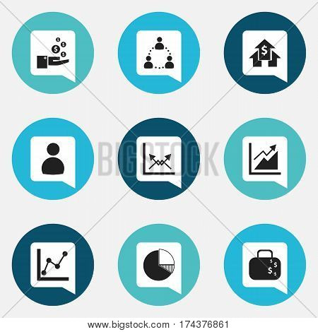 Set Of 9 Editable Analytics Icons. Includes Symbols Such As Schema, Graph Information, User And More. Can Be Used For Web, Mobile, UI And Infographic Design.