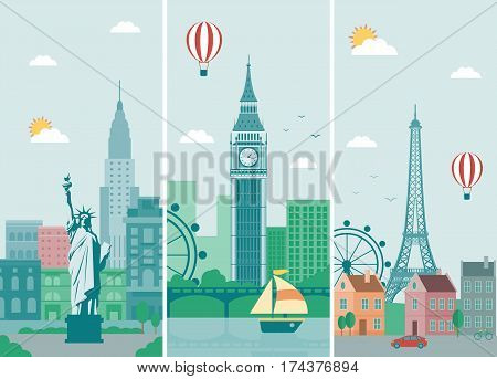 Cities skylines design with landmarks. London, Paris and New York cities skylines design with landmarks. Vector illustration