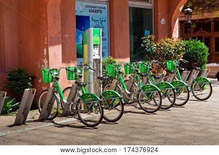 Batumi, Georgia - May, 2015: Group of bicycles in the row. Bycicle rent in Batumi, Georgia