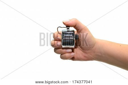 counting clicker woman hand isolated over white