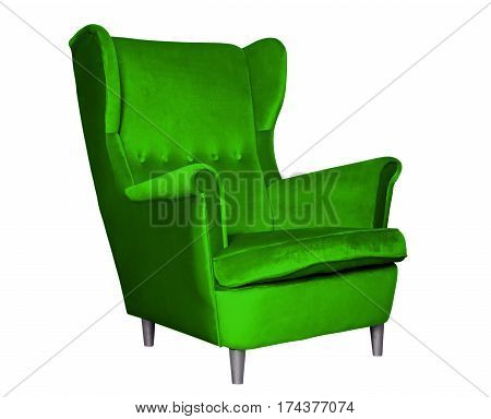 Textile classic green chair isolated on white background.