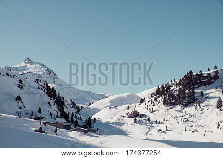 winter wonderland near neue bamberger huette in tirol, austria