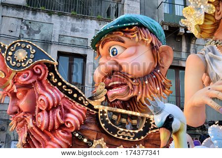 Acireale (CT) Italy - February 28 2017: detail of a allegorical float depicting the mythological figure of Polyphemus during the carnival parade along the streets of Acireale.