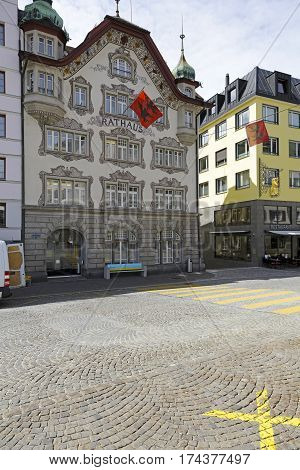 EINSIEDELN SWITZERLAND - MAY 09 2016: Historic Town Hall building with decorated facade. It is one of the most recognizable landmark in the city.