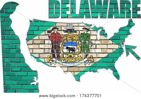Delaware on a brick wall - Illustration, Delaware map