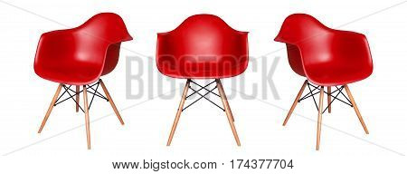 Modern red chair stool isolated on white background. View from different sides - front and two side views
