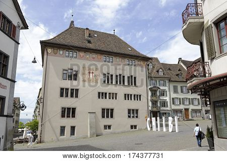 RAPPERSWIL SWITZERLAND - MAY 10 2016: Town Hall building is the former seat of the city government which is located within the old town. Today it houses a cafe and restaurant and museum collections