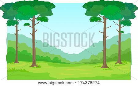 Tall pines, mountains, forest and green field.