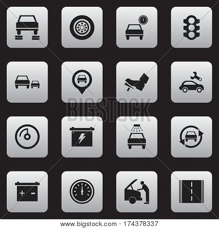 Set Of 16 Editable Car Icons. Includes Symbols Such As Tire, Highway, Stoplight And More. Can Be Used For Web, Mobile, UI And Infographic Design.