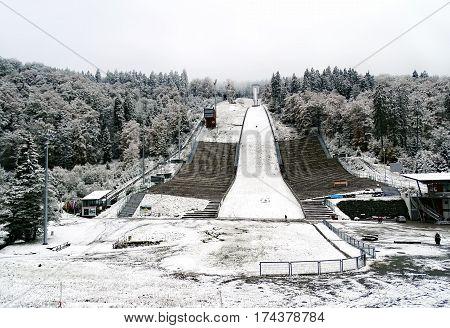 Willingen, Germany - October 14, 2015: Ski jump Muehlenkopfschanze in Willingen (Germany) after the first snow of the winter season 2015/2016.