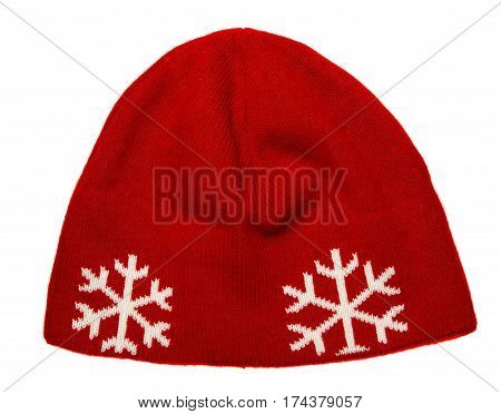 Hat Isolated On White Background .knitted Hat .red Hat