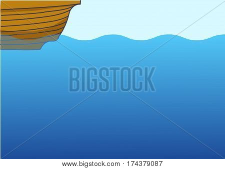 a bottom boat, underwater background, undersea life