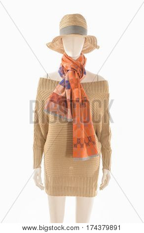 female sundress clothing with hat and scarf on mannequin
