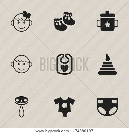 Set Of 9 Editable Child Icons. Includes Symbols Such As Rattle, Pinafore, Goplet And More. Can Be Used For Web, Mobile, UI And Infographic Design.