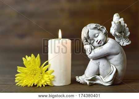 Angel candle and flower on wooden background