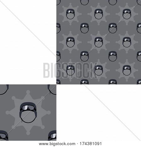 Seamless dark gray patterns of special forces helmets with pattern unit.