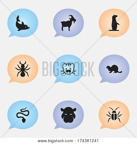 Set Of 9 Editable Animal Icons. Includes Symbols Such As Livestock, Groundhog, Serpent And More. Can Be Used For Web, Mobile, UI And Infographic Design.