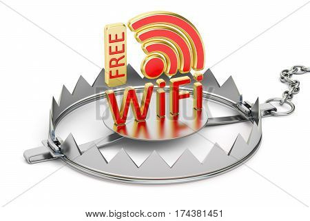 Trap with Free Wi-Fi symbol 3D rendering