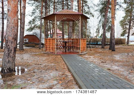 Arbor In The Park In The Winter
