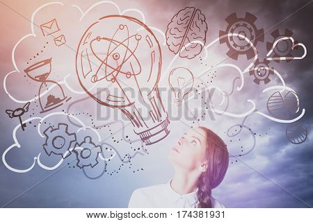 Pretty caucasian lady looking up at abstract lamp cogs and brain sketch. Sky background. Creative idea concept
