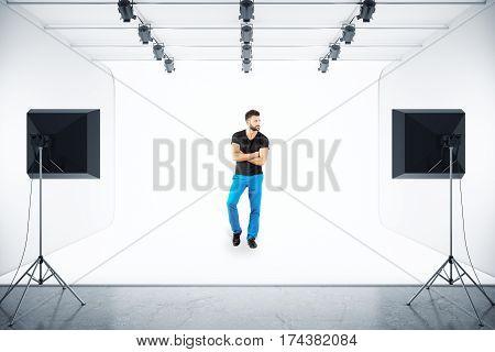 Handsome european man posing in photo studio. 3D Rendering